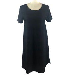 Lularoe Carly Solid Black Textured Striped Dress